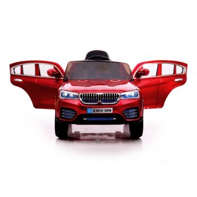 Акумулаторен джип BMW XMX-806 с дистанционно, меки гуми и кожена - червен