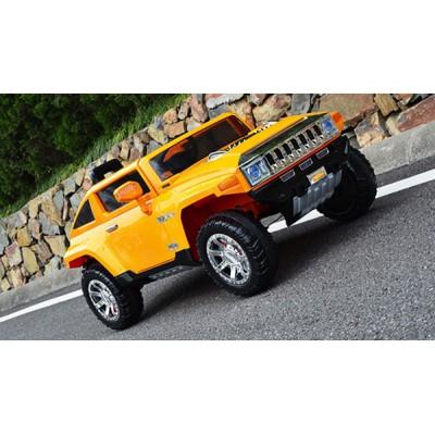 Голям акумулаторен джип Hummer 12V с меки гуми - жълт HL-188