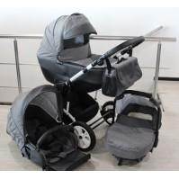 Бебешка количка Gusio 3в1 Polly цвят - сив лен с графит кожа