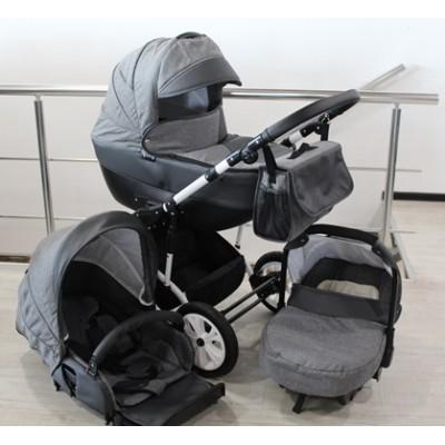 Бебешка количка Gusio 3в1 Polly цвят - сив лен с графит кожа 30225