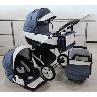 Бебешка количка Gusio 3в1 Polly цвят - син деним с бяла кожа 30225