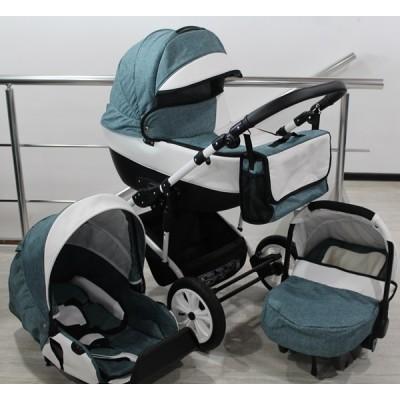 Бебешка количка Gusio 3в1 Polly цвят - тюркоаз лен с бяла кожа 30225
