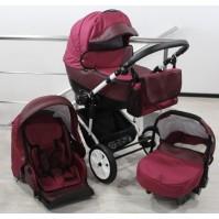 Бебешка количка Gusio 3в1 Polly цвят - бордо лен с бордо кожа