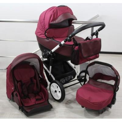 Бебешка количка Gusio 3в1 Polly цвят - бордо лен с бордо кожа 30225