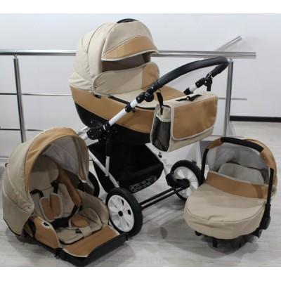 Бебешка количка Gusio 3в1 Polly цвят - бежов лен с капучино кожа 30225