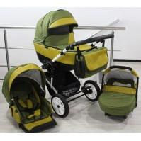 Бебешка количка Gusio 3в1 Polly цвят - зелен лен с горчица кожа