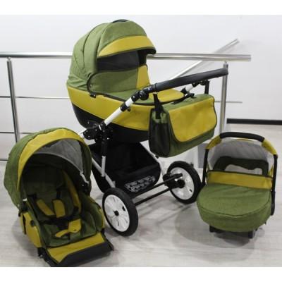 Бебешка количка Gusio 3в1 Polly цвят - зелен лен с горчица кожа 30225