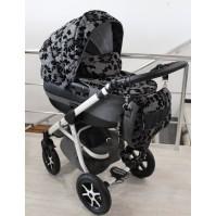 Бебешка количка 2в1 Gusio Maseratti - сив лен с цветя