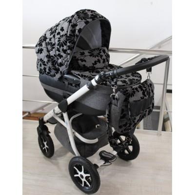 Бебешка количка 2в1 Gusio Maseratti - сив лен с цветя 30222