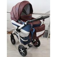 Бебешка количка 2в1 Gusio Maseratti - кафява еко кожа