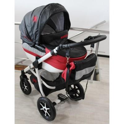 Бебешка количка 2в1 Gusio Maseratti - черна еко кожа 30222