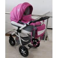 Бебешка количка 2в1 Gusio Maseratti - розова еко кожа