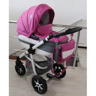 Бебешка количка 2в1 Gusio Maseratti - розова еко кожа 30222
