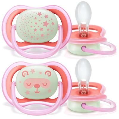 Ортодонтични залъгалки Ultra Air Night Philips AVENT + стерилизаторна кутия (6-18м) момиче 00A-0517 - нощни с декорация 00A-0517-6-18-girl-night