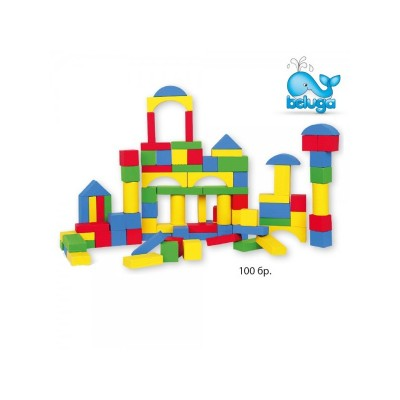 Комплект дървени кубчета със сортер 100 елемента Beluga 20055