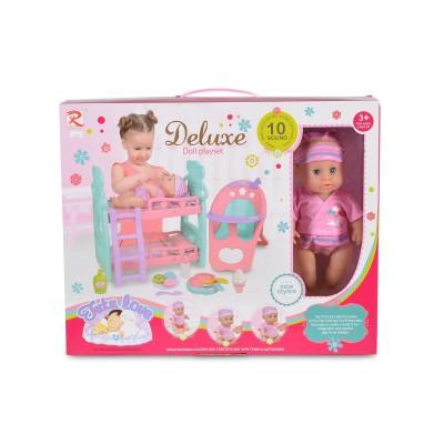 Кукла 31cm пишкаща с легло и стол за хран. 8295 108316