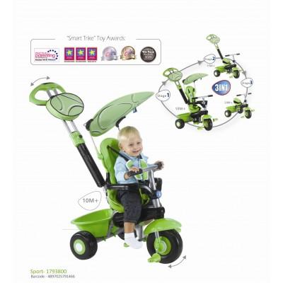 Smart Trike Детска триколка Sport 3 в 1 - зелено