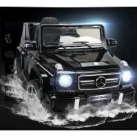 Акумулаторен джип Mercedes Benz G63 с меки гуми - металик черен