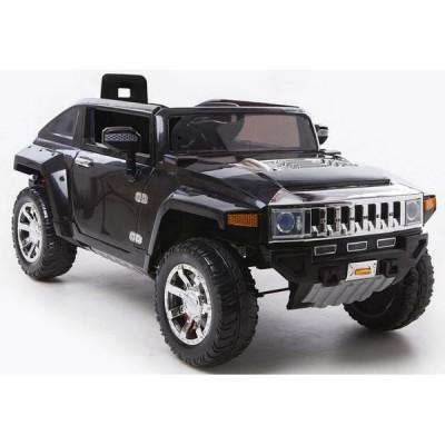 Голям акумулаторен джип Hummer 12V с меки гуми - черен металик HL-188