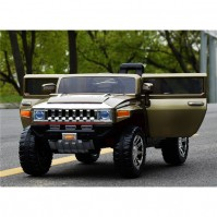 Голям акумулаторен джип Hummer 12V с меки гуми - металик