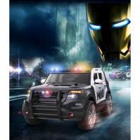 Акумулаторен джип POLICE с меки гуми - черен