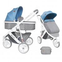 Бебешка количка Lorelli Calibra 2017 2в1 - сиво и синьо