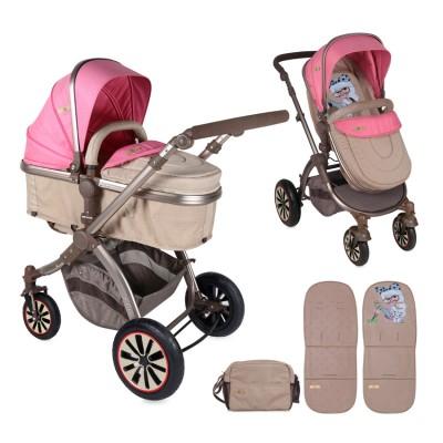 Бебешка количка AURORA Lorelli 2017 въздушни гуми - розова 10020951746