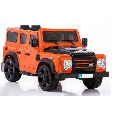 Акумулаторен джип лицензиран Land Rover Defender с меки гуми - оранжев