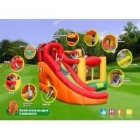 Детски надуваем батут Игрален център 10 в 1 с кош и пързалка