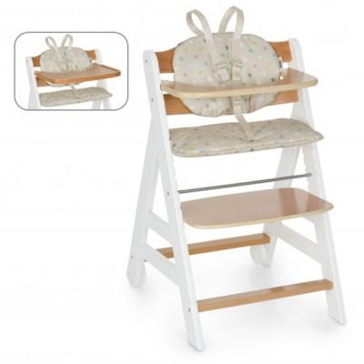Дървен стол за хранене Beta+B Hauck - White Natur Dots Sand 663158