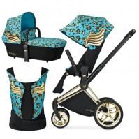 Бебешка количка Cybex PRIAM Jeremy Scott Cherubs Blue 2в1 и YEMA TIE Jeremy Scott Cherubs Blue