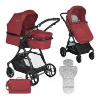 Детска количка STARLIGHT Lorelli 2018 с кош за новородено - RED