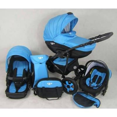 Бебешка количка Mikado Cleo 2в1 - синя цвят 5