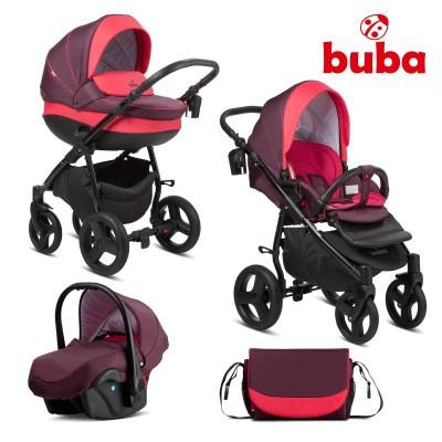 Бебешка количка 3в1 Buba Bella 706 - Burgundy 706