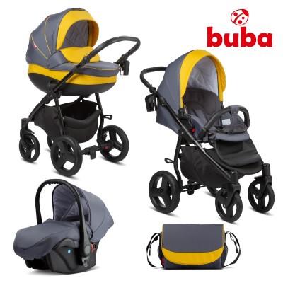 Бебешка количка 3в1 Buba Bella 716 - Pewter Yellow 716