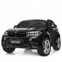 Двуместен акумулаторен джип BMW X6M с меки гуми и кожа - черен