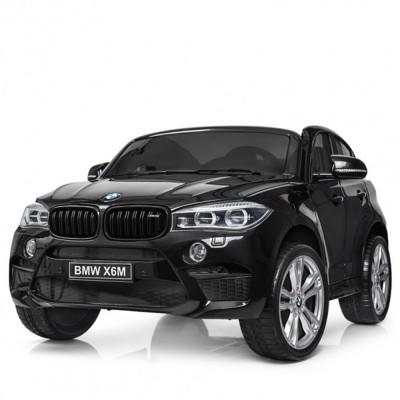 Двуместен акумулаторен джип BMW X6M с меки гуми и кожа - черен JJ2168