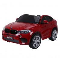 Двуместен акумулаторен джип BMW X6M с меки гуми и кожа - червена