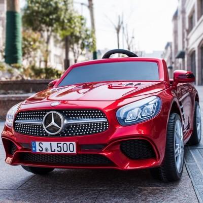 Акумулаторна кола MERCEDES BENZ SL500 AMG 12V с меки гуми и кожа - червена SL500AMG