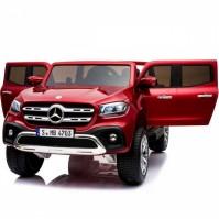 Двуместен акумулаторен джип MERCEDES X-CLASS 2X12V MP4 (видео) с меки гуми и кожени седалки - червен