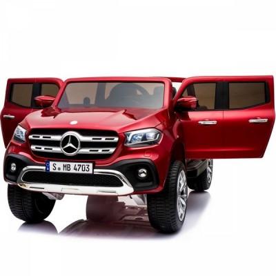 Двуместен акумулаторен джип MERCEDES X-CLASS 2X12V MP4 (видео) с меки гуми и кожени седалки - червен X-Class