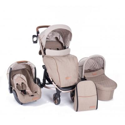 Бебешка количка Kikkaboo Madrid 3в1 - Melange Beige 31001010004