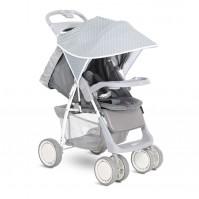 Сенник за детска количка сиво с бели точки