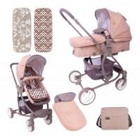 Бебешка количка aster beige&brown lines